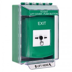 GLR171XT-EN STI Green Indoor/Outdoor Low Profile Surface Mount Key-to-Reset Push Button with EXIT Label English