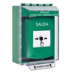GLR171XT-ES STI Green Indoor/Outdoor Low Profile Surface Mount Key-to-Reset Push Button with EXIT Label Spanish