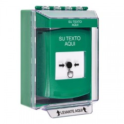 GLR171ZA-ES STI Green Indoor/Outdoor Low Profile Surface Mount Key-to-Reset Push Button with Non-Returnable Custom Text Label Spanish