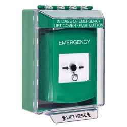 GLR181EM-EN STI Green Indoor/Outdoor Low Profile Surface Mount w/ Sound Key-to-Reset Push Button with EMERGENCY Label English