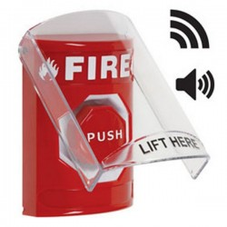 [DISCONTINUED] SS-20B2F STI Stopper Station with Wireless Stopper Station Shield with Sound and Transmitter - Fire - Red