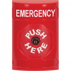 SS2000EM-EN STI Red No Cover Key-to-Reset Stopper Station with EMERGENCY Label English