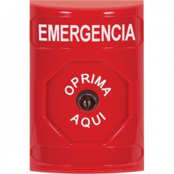 SS2000EM-ES STI Red No Cover Key-to-Reset Stopper Station with EMERGENCY Label Spanish