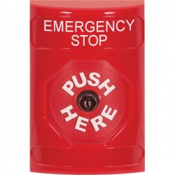 SS2000ES-EN STI Red No Cover Key-to-Reset Stopper Station with EMERGENCY STOP Label English