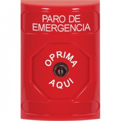 SS2000ES-ES STI Red No Cover Key-to-Reset Stopper Station with EMERGENCY STOP Label Spanish