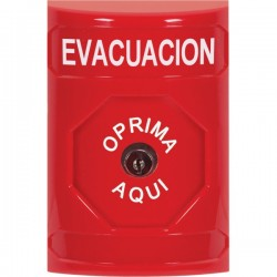 SS2000EV-ES STI Red No Cover Key-to-Reset Stopper Station with EVACUATION Label Spanish