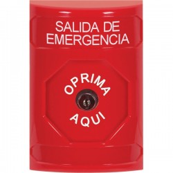 SS2000EX-ES STI Red No Cover Key-to-Reset Stopper Station with EMERGENCY EXIT Label Spanish
