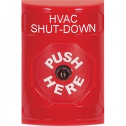 SS2000HV-EN STI Red No Cover Key-to-Reset Stopper Station with HVAC SHUT DOWN Label English