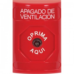 SS2000HV-ES STI Red No Cover Key-to-Reset Stopper Station with HVAC SHUT DOWN Label Spanish