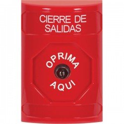 SS2000LD-ES STI Red No Cover Key-to-Reset Stopper Station with LOCKDOWN Label Spanish