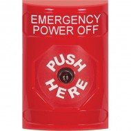 SS2000PO-EN STI Red No Cover Key-to-Reset Stopper Station with EMERGENCY POWER OFF Label English