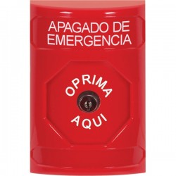 SS2000PO-ES STI Red No Cover Key-to-Reset Stopper Station with EMERGENCY POWER OFF Label Spanish