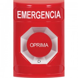 SS2001EM-ES STI Red No Cover Turn-to-Reset Stopper Station with EMERGENCY Label Spanish