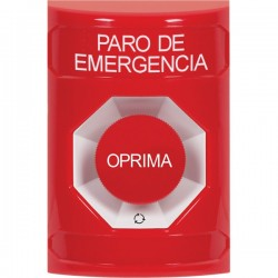 SS2001ES-ES STI Red No Cover Turn-to-Reset Stopper Station with EMERGENCY STOP Label Spanish
