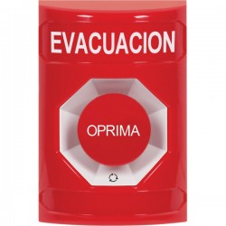 SS2001EV-ES STI Red No Cover Turn-to-Reset Stopper Station with EVACUATION Label Spanish
