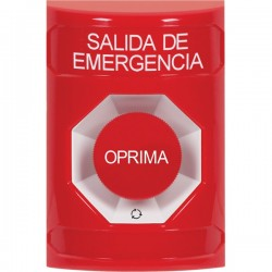 SS2001EX-ES STI Red No Cover Turn-to-Reset Stopper Station with EMERGENCY EXIT Label Spanish