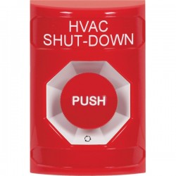SS2001HV-EN STI Red No Cover Turn-to-Reset Stopper Station with HVAC SHUT DOWN Label English