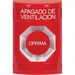 SS2001HV-ES STI Red No Cover Turn-to-Reset Stopper Station with HVAC SHUT DOWN Label Spanish