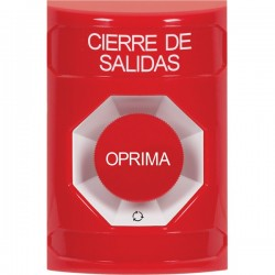 SS2001LD-ES STI Red No Cover Turn-to-Reset Stopper Station with LOCKDOWN Label Spanish