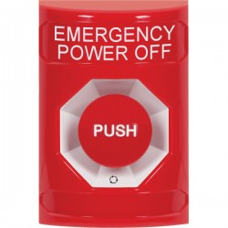 SS2001PO-EN STI Red No Cover Turn-to-Reset Stopper Station with EMERGENCY POWER OFF Label English