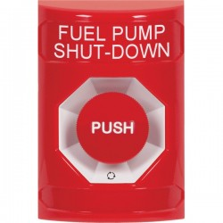 SS2001PS-EN STI Red No Cover Turn-to-Reset Stopper Station with FUEL PUMP SHUT DOWN Label English
