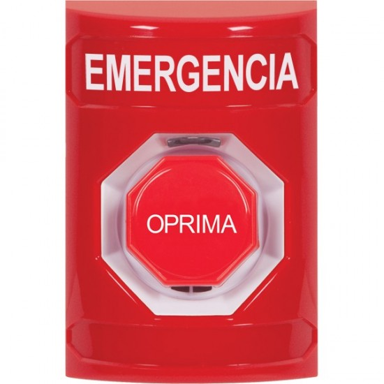 SS2002EM-ES STI Red No Cover Key-to-Reset (Illuminated) Stopper Station with EMERGENCY Label Spanish