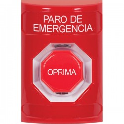 SS2002ES-ES STI Red No Cover Key-to-Reset (Illuminated) Stopper Station with EMERGENCY STOP Label Spanish