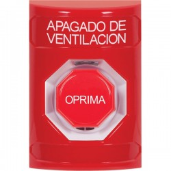 SS2002HV-ES STI Red No Cover Key-to-Reset (Illuminated) Stopper Station with HVAC SHUT DOWN Label Spanish
