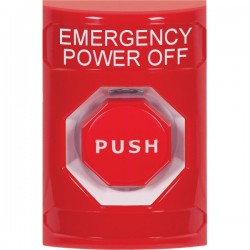SS2002PO-EN STI Red No Cover Key-to-Reset (Illuminated) Stopper Station with EMERGENCY POWER OFF Label English