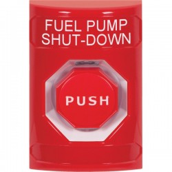 SS2002PS-EN STI Red No Cover Key-to-Reset (Illuminated) Stopper Station with FUEL PUMP SHUT DOWN Label English