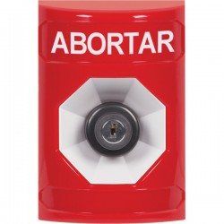 SS2003AB-ES STI Red No Cover Key-to-Activate Stopper Station with ABORT Label Spanish