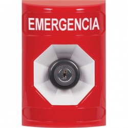 SS2003EM-ES STI Red No Cover Key-to-Activate Stopper Station with EMERGENCY Label Spanish