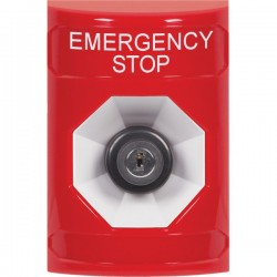 SS2003ES-EN STI Red No Cover Key-to-Activate Stopper Station with EMERGENCY STOP Label English