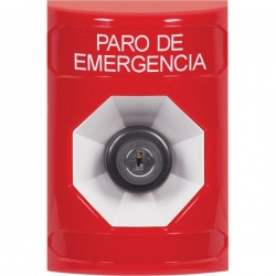 SS2003ES-ES STI Red No Cover Key-to-Activate Stopper Station with EMERGENCY STOP Label Spanish