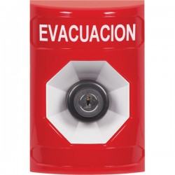 SS2003EV-ES STI Red No Cover Key-to-Activate Stopper Station with EVACUATION Label Spanish