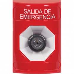 SS2003EX-ES STI Red No Cover Key-to-Activate Stopper Station with EMERGENCY EXIT Label Spanish