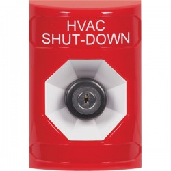 SS2003HV-EN STI Red No Cover Key-to-Activate Stopper Station with HVAC SHUT DOWN Label English