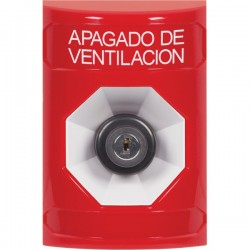 SS2003HV-ES STI Red No Cover Key-to-Activate Stopper Station with HVAC SHUT DOWN Label Spanish