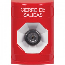 SS2003LD-ES STI Red No Cover Key-to-Activate Stopper Station with LOCKDOWN Label Spanish