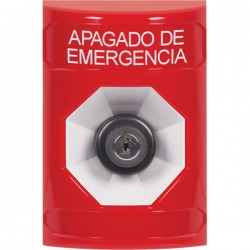 SS2003PO-ES STI Red No Cover Key-to-Activate Stopper Station with EMERGENCY POWER OFF Label Spanish