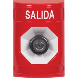 SS2003XT-ES STI Red No Cover Key-to-Activate Stopper Station with EXIT Label Spanish