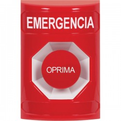 SS2004EM-ES STI Red No Cover Momentary Stopper Station with EMERGENCY Label Spanish