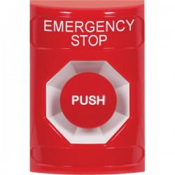 SS2004ES-EN STI Red No Cover Momentary Stopper Station with EMERGENCY STOP Label English
