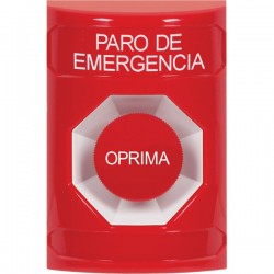 SS2004ES-ES STI Red No Cover Momentary Stopper Station with EMERGENCY STOP Label Spanish