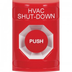 SS2004HV-EN STI Red No Cover Momentary Stopper Station with HVAC SHUT DOWN Label English