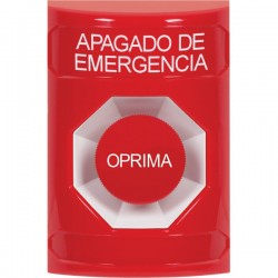 SS2004PO-ES STI Red No Cover Momentary Stopper Station with EMERGENCY POWER OFF Label Spanish