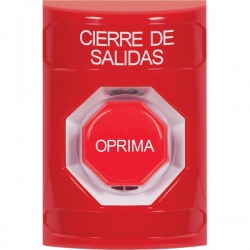 SS2005LD-ES STI Red No Cover Momentary (Illuminated) Stopper Station with LOCKDOWN Label Spanish