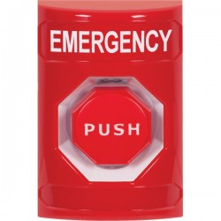 SS2008EM-EN STI Red No Cover Pneumatic (Illuminated) Stopper Station with EMERGENCY Label English