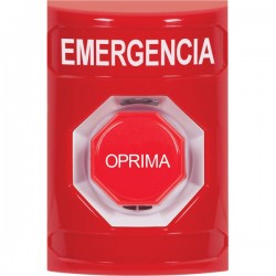 SS2008EM-ES STI Red No Cover Pneumatic (Illuminated) Stopper Station with EMERGENCY Label Spanish