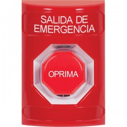 SS2008EX-ES STI Red No Cover Pneumatic (Illuminated) Stopper Station with EMERGENCY EXIT Label Spanish